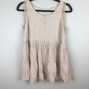 LC Lauren Conrad Tank Top with lace trim M